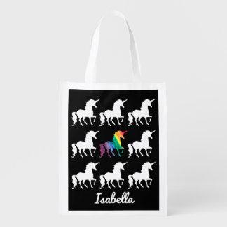 Modelo negro y blanco del unicornio personalizado bolsa reutilizable