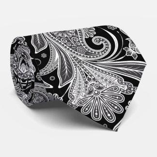 Modelo negro y blanco elegante de Paisley Corbata Personalizada
