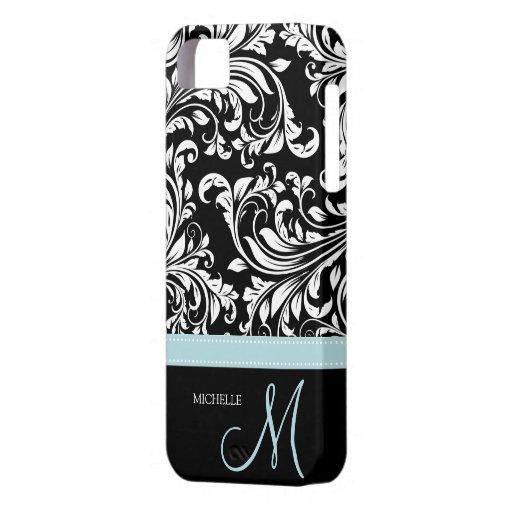 Modelo negro y blanco elegante del damasco con el iPhone 5 carcasas