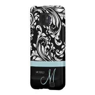 Modelo negro y blanco elegante del damasco con el  galaxy SII carcasas