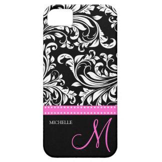 Modelo negro y blanco elegante del damasco con el  iPhone 5 Case-Mate coberturas