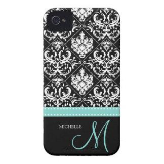 Modelo negro y blanco elegante del damasco con el  iPhone 4 carcasa
