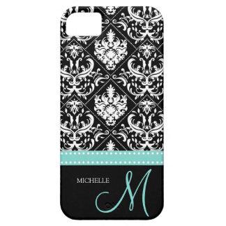 Modelo negro y blanco elegante del damasco con el  iPhone 5 Case-Mate fundas