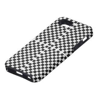 Modelo negro y blanco moderno del tablero de damas iPhone 5 fundas