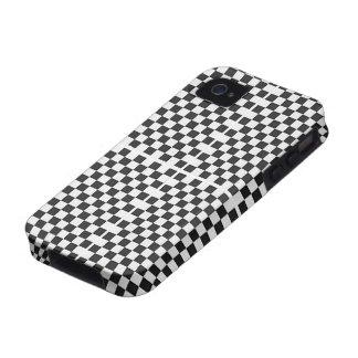 Modelo negro y blanco moderno del tablero de damas vibe iPhone 4 carcasa
