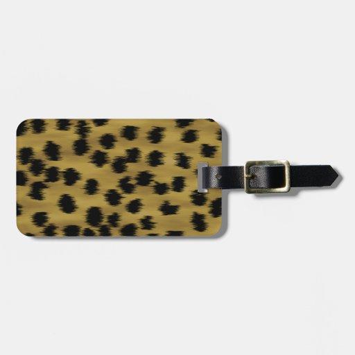 Modelo negro y de oro de la impresión del guepardo etiqueta para maleta
