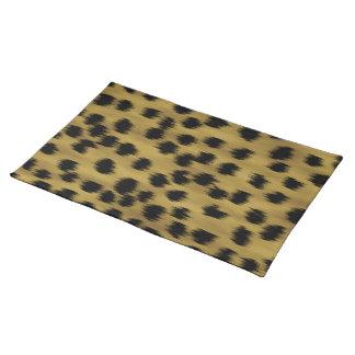 Modelo negro y de oro de la impresión del guepardo manteles individuales