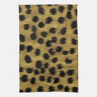 Modelo negro y de oro de la impresión del guepardo toalla