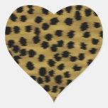 Modelo negro y de oro de la impresión del guepardo calcomanías de corazones