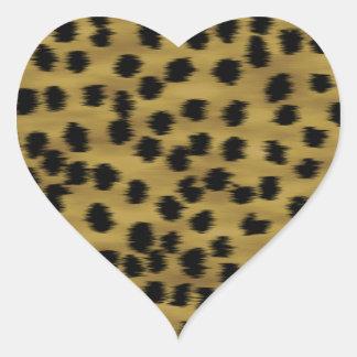 Modelo negro y de oro de la impresión del guepardo colcomanias corazon