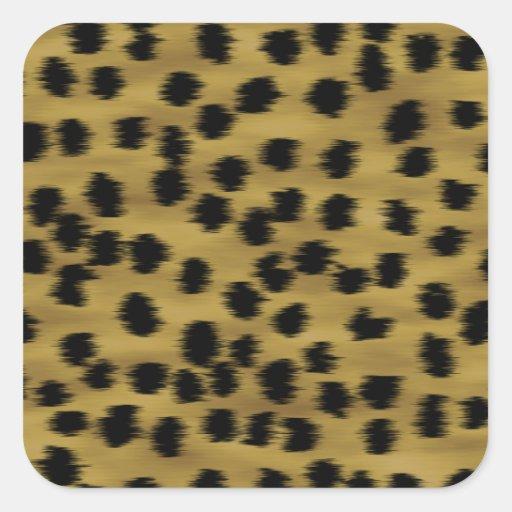 Modelo negro y de oro de la impresión del guepardo calcomanía cuadrada