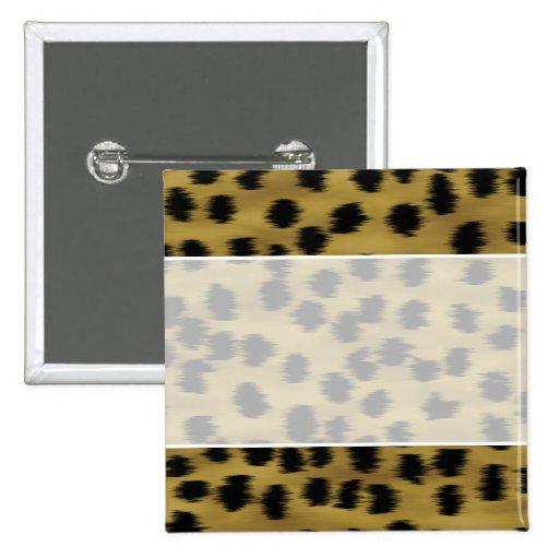 Modelo negro y de oro de la impresión del guepardo pin cuadrada 5 cm