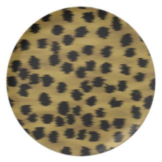 Modelo negro y de oro de la impresión del guepardo plato de cena