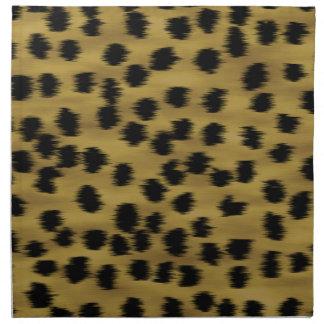 Modelo negro y de oro de la impresión del guepardo servilletas