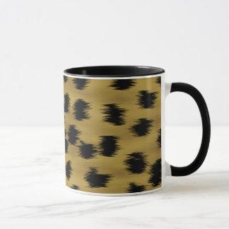 Modelo negro y de oro de la impresión del guepardo taza