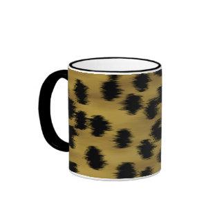 Modelo negro y de oro de la impresión del guepardo taza a dos colores