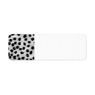 Modelo negro y gris de la impresión del guepardo etiqueta de remite