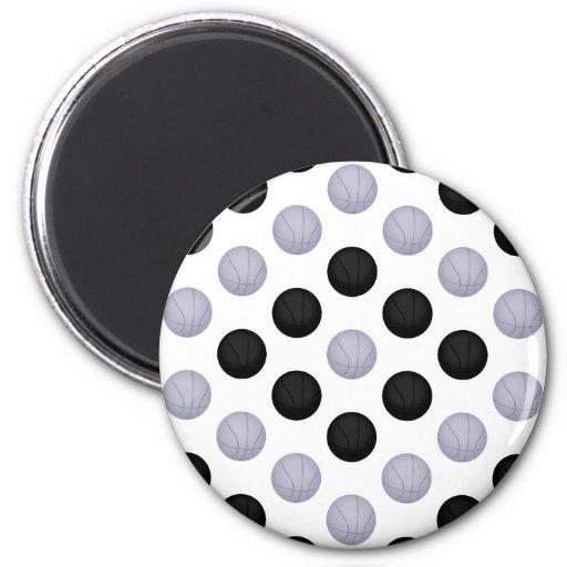 Modelo negro y gris/de plata del baloncesto iman de nevera