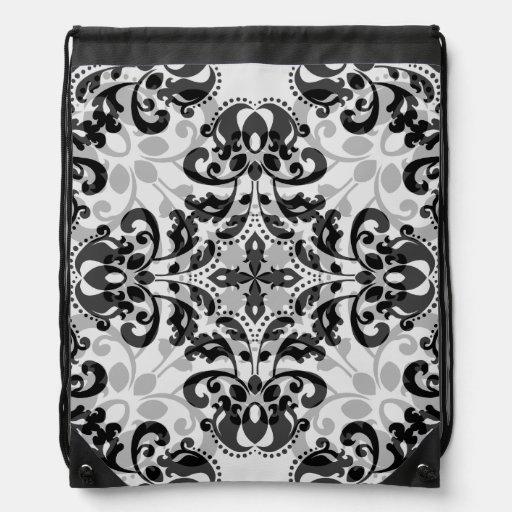 Modelo negro y gris elegante del damasco mochilas