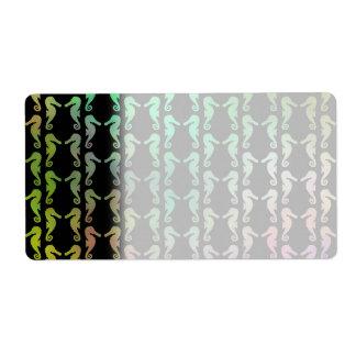 Modelo negro y multicolor del Seahorse Etiquetas De Envío