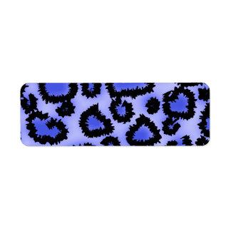 Modelo negro y Púrpura-Azul del estampado leopardo Etiqueta De Remitente