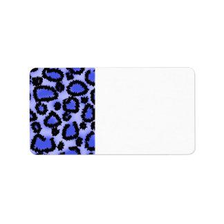 Modelo negro y Púrpura-Azul del estampado leopardo Etiquetas De Dirección