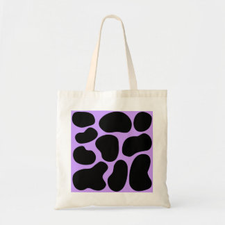 Modelo negro y púrpura de la impresión de la vaca bolsa lienzo