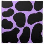 Modelo negro y púrpura de la impresión de la vaca servilleta de papel