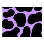 Modelo negro y púrpura de la impresión de la vaca postal