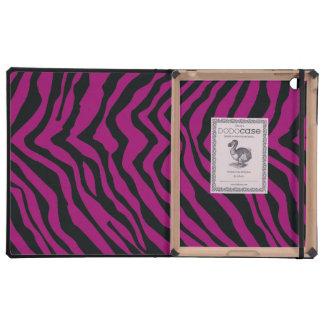 Modelo negro y púrpura de la raya de la cebra iPad fundas