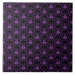 Modelo negro y púrpura del damasco. Gótico Teja Cerámica