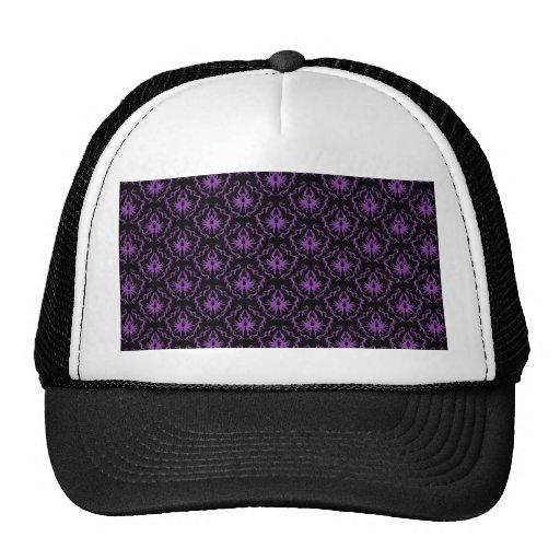 Modelo negro y púrpura del damasco. Gótico Gorras