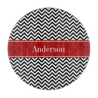 Modelo negro y rojo de Chevron personalizado Tablas Para Cortar