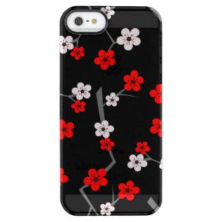 Modelo negro y rojo de la flor de cerezo funda clear para iPhone SE/5/5s