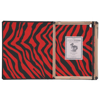 Modelo negro y rojo de la raya de la cebra iPad protectores