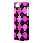 Modelo negro y rosado del chica de Argyle iPhone 5 Carcasa