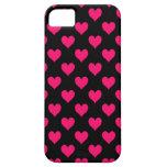 Modelo negro y rosado del corazón iPhone 5 Case-Mate cárcasa