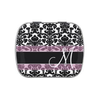 Modelo negro y rosado del damasco con el monograma