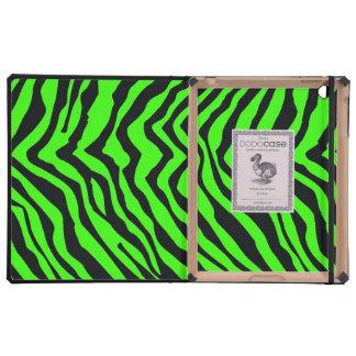 Modelo negro y verde de la raya de la cebra iPad carcasa