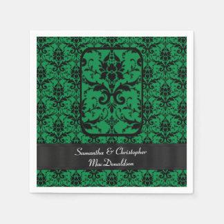 Modelo negro y verde del damasco del boda servilletas de papel