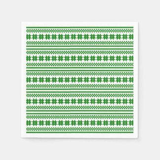 Modelo noruego blanco verde del suéter del navidad servilleta de papel
