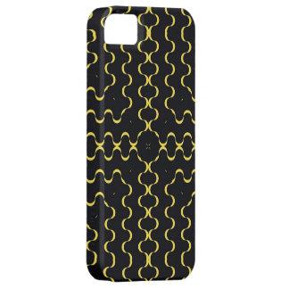 Modelo ondulado amarillo de las rayas iPhone 5 funda