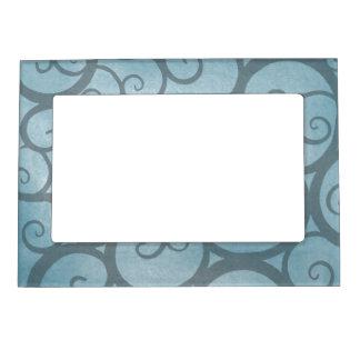 Modelo ondulado azul encantado del remolino marcos magnéticos de fotos