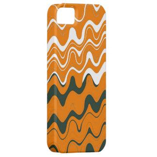 Modelo ondulado de las rayas del mar gris blanco iPhone 5 fundas