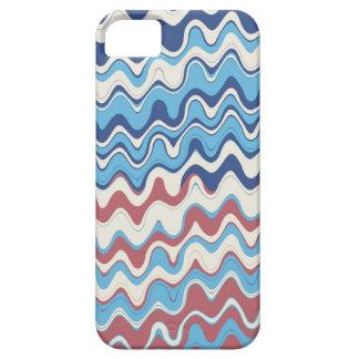 Modelo ondulado de las rayas del mar retro funda para iPhone 5 barely there