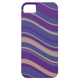 Modelo ondulado de las rayas del vintage (púrpura, iPhone 5 funda