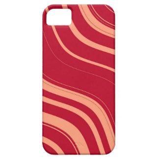 Modelo ondulado rojo y rosado de las rayas funda para iPhone 5 barely there