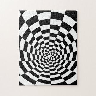 Modelo óptico blanco y negro rompecabeza con fotos