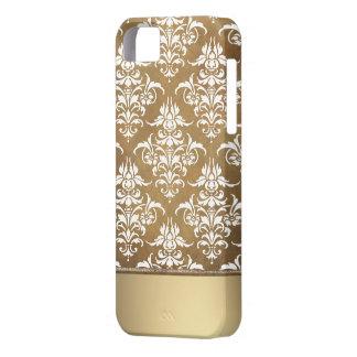 Modelo oscuro elegante del damasco del vintage del funda para iPhone 5 barely there