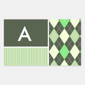 Modelo oscuro y verde claro de Argyle Pegatina Rectangular